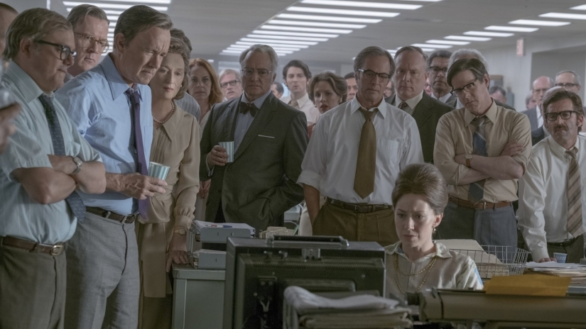The+cast+of+The+Post+in+a+critical+scene+of+the+movie