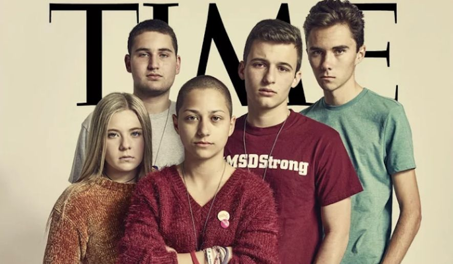 Student Activists Jaclyn Corin, Alex Wind, Emma Gonzalez, Cameron Kasky and David Hogg are featured on TIME's front cover of the April issue.