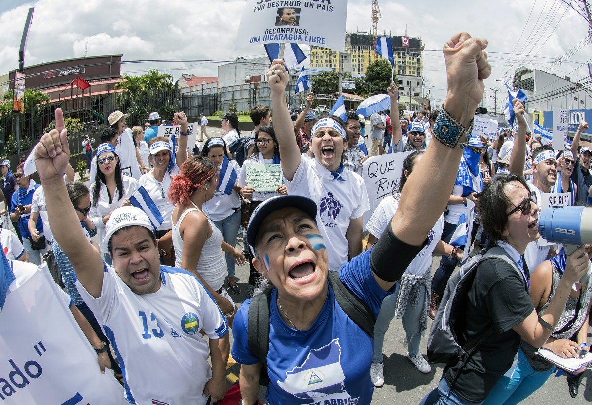 Nicaraguans and Costa Ricans protesting against president Ortega's actions in San Jose, Costa Rica.