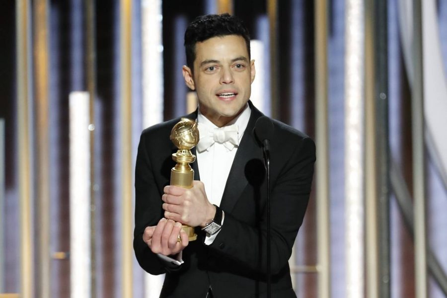 Actor Rami Malek receiving the 2019 Best Performance by an Actor in a Drama Motion Picture Golden Globe for his role in Bohemian Rhapsody.