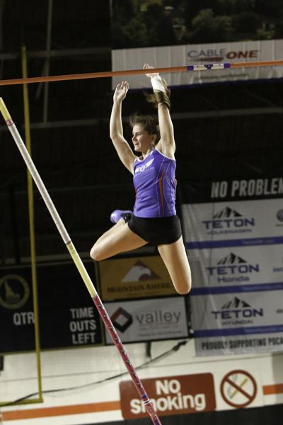 "Maloney's fifth attempt at vaulting during the Simplot Games earned her the winning jump of 12'6""."