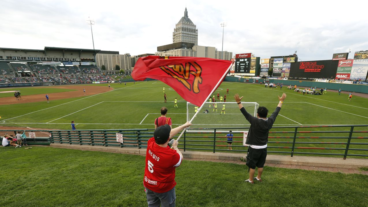 The game, between the now defunct Western New York Flash and the Seattle Reighn, which was played on the smallest field allowed by soccer's governing body.  Cred: Carlos Ortiz