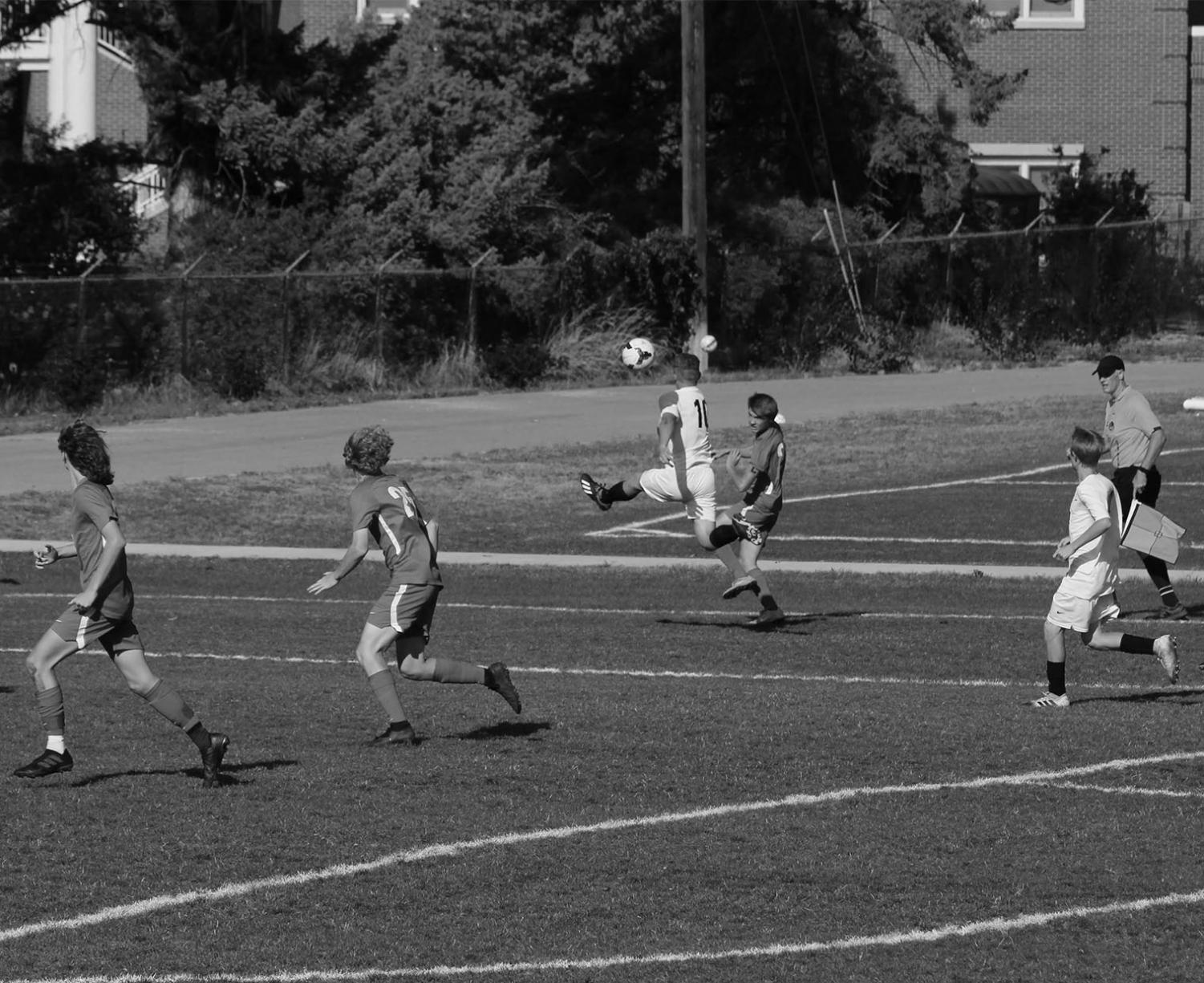 September 11th, the BHS JV soccer team playing Mountain View on the home turf.