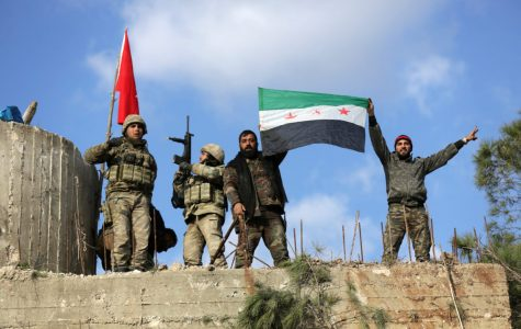 Turkish forces and free syrian army members on mount barsaya Photo credit by khalil ashawi/reuters