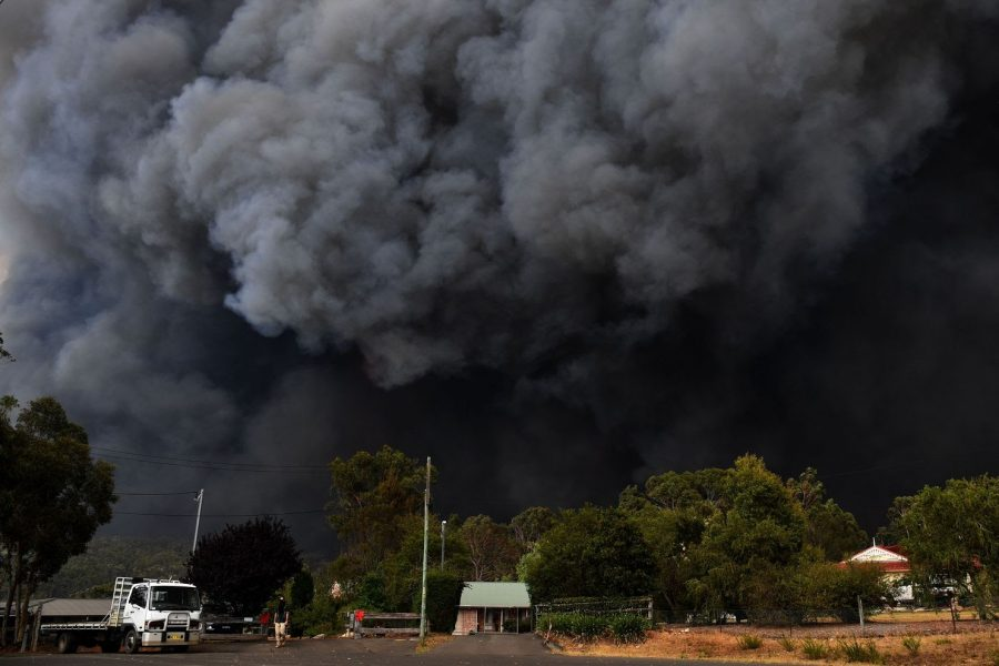 As the fires continue to burn, smoke fills the sky near Sydney, Australia.