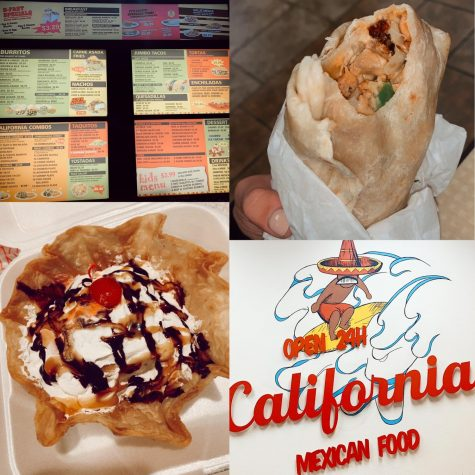 The chicken fajita burrito and the fried ice cream along with the menu and the fun logos inside the store front.