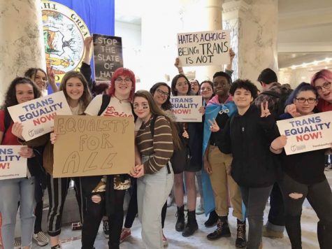 A crowd of Boise High students gathered in the Capitol building on Friday, February 28, to support transgender rights.