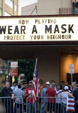 Citizens rebelling against mask mandate. Downtown Boise Egyptian Theatre displays creative title while promoting the importance of wearing a mask in your community.