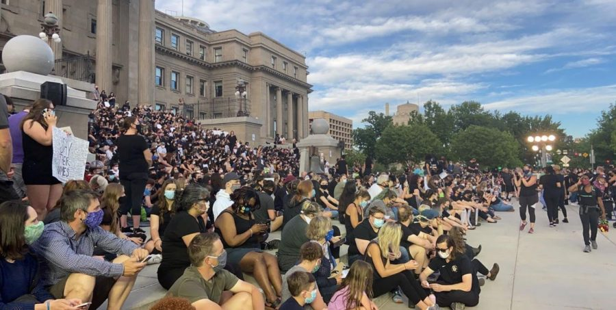 People gather on the steps of the Idaho Capital on June 2nd, to mourn the loss of black lives due to racially unjust police violence.
