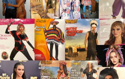 Collage of celebrities and halloween costumes that are practicing cultural appropriation.