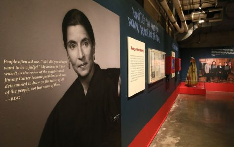 Large scale photos and quotes from RBG kept up in the