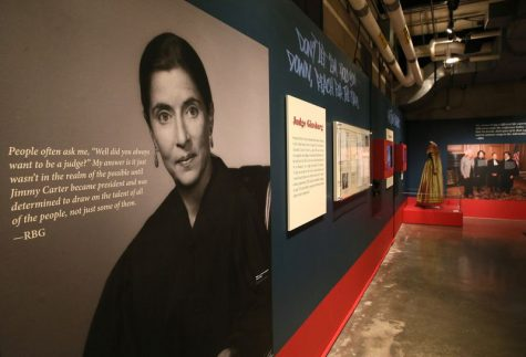 "Large scale photos and quotes from RBG kept up in the ""Notorious RBG"" exhibit, now being used to honor her memory. (Stacey Wescott / Chicago Tribune)"