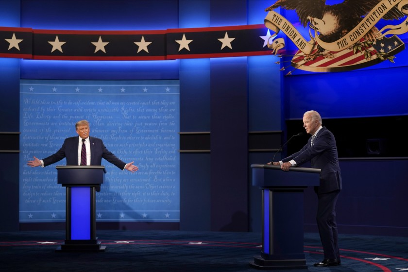 President Donald Trump and running candidate Joseph Biden during the first debate.
