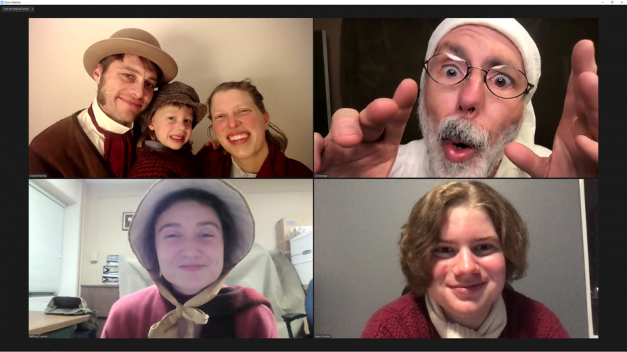 These are some of the characters in the show over a Zoom call.  In this photo you can really tell how much they love doing this even in these hard times.