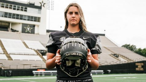 "A picture of Fuller's ""Play Like a Girl"" helmet that she wears to empower other female athletes. (Vanderbilt University)"