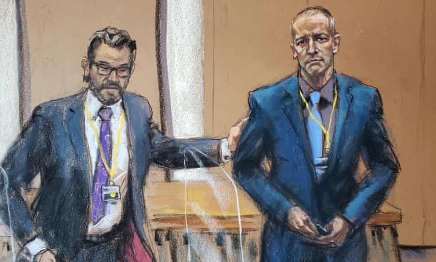 Defense attorney Eric Nelson and Derek Chauvin in a courtroom sketch from a video feed in Minneapolis, Minnesota. (Jane Rosenberg/Reuters)